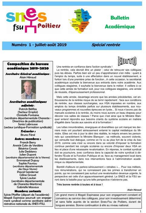 Bulletin spécial rentrée 2019
