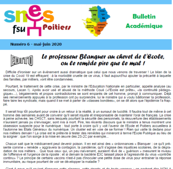 Bulletin académique Mai-Juin 2020