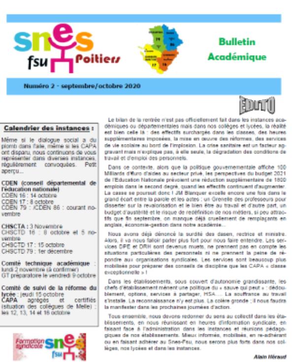 Bulletin n°2 septembre-octobre 2020