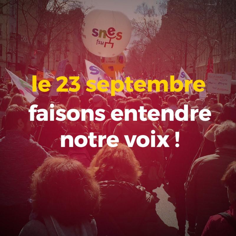 Le 23 septembre, faisons entendre notre voix